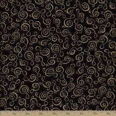 Music Cotton Fabric - black