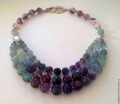 """Купить Бусы из флюорита """" Водопад"""" - разноцветный, бусы из камней, колье, ожерелье, из флюорита, купить"""