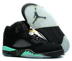 4a9adfae09d2 Air Jordan Retro 5 Black Mint Green France Nike Basketball Shoes