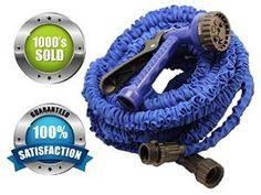 Expandable Garden Hose & Spray Nozzle Combo- 50 Foot - Best Water Hose - Blue, Collapsible, Lightweight, & Rubber- FREE Spray Nozzle! Great for gardening, recreational vehicles, pools, workshops, boats, washing cars, & the house- 1 YEAR Guarantee!