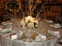Wedding Receptions - Events Rentals Idea Gallery - Best Rentals - Indianapolis.  Silver, ivory, and gold.