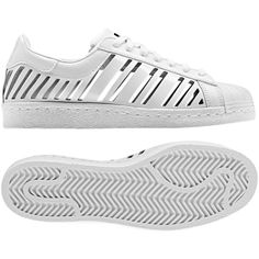 Superstar 80s Cutout Shoes (€36) ❤ liked on Polyvore featuring shoes, sneakers, 80s shoes, 80s footwear, striped shoes, print shoes and adidas shoes