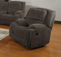 Caesar Upholstery Grey Wood Steel Foam Polyester Glider Recliner