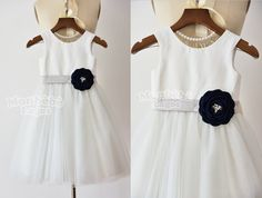Ivory Tulle Flower Girl dress with Navy Blue by MonbebeLagos #ivory#blue#flowergirldress#girlsdresses#juniorbride#girlsdresses #sequin