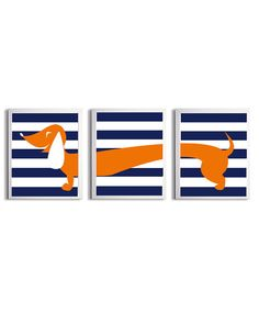Nursery Girl Boy Art Dachshund Dog Kids Navy Orange Stripe Wall Decor Set of 3 each 11x14