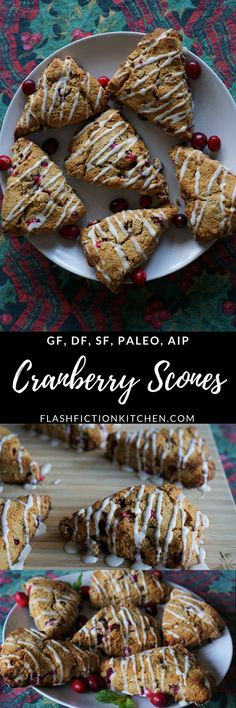 Cranberry Scones (paleo AIP) from Flash Fiction Kitchen Dairy Free Recipes, Paleo Recipes, Baking Recipes, Flour Recipes, Cranberry Scones, Cranberry Recipes, Paleo Sweets, Paleo Dessert, Paleo Breakfast