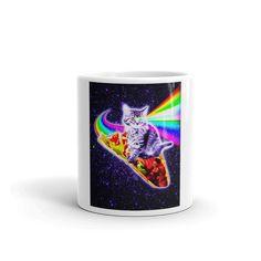 Rainbow Laser Eyes Galaxy Cat Riding Taco Mug Rainbow Pizza, Dinosaur Mug, Unicorn Coffee Mug, Galaxy Cat, Space Cat, Cute Mugs, Elephant, Kitty, Eyes