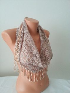Pareo  Beige Lace Scarf with white lace by SpecialFabrics on Etsy, $13.99