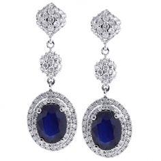 18K White Gold 4.22 ct Blue Sapphire Diamond Womens Dangle Earrings