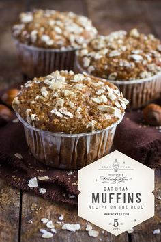 Guard your heart with these honey oat bran muffins. THigh in fiber, satisfying, easy to make, easy to modify and good for you too. Honey Bran Muffins, Almond Flour Muffins, Chocolate Muffins, Muffin Recipes, Snack Recipes, Snacks, High Cholesterol Foods, Baking Soda Baking Powder, Honey Recipes