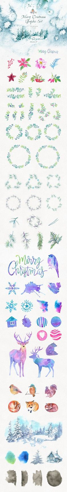 Merry Christmas Graphic Set. +10 PSD by le-genda on @creativemarket