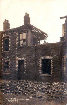 Durham, Hartlepool, Mary Street - Bomb Damage on December 16th 1914 - WWI