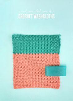 DIY colorblock crochet washcloth pattern