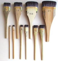 Printmakers brushes, handmade deer and hog hair