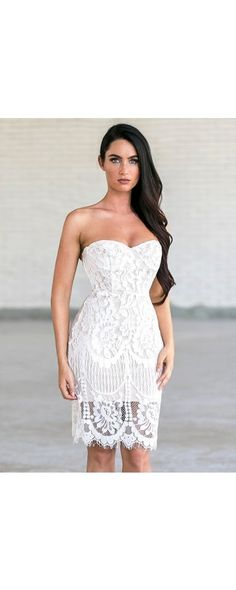 Off White Lace Cocktail Dress, Cute Bachelorette Party Dress Cute Lace Dresses, Casual Dresses, Pretty Dresses, White Lace Cocktail Dress, Cocktail Dresses, White Dress, Bachelorette Outfits, Dresser, Dress Attire
