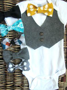 Baby Bow Tie With Vest Onesie  Baby Boy Grey Vest by SewLovedBaby,  Great for newborn wedding attire!