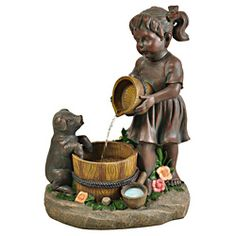 @Overstock - This adorable Envirostone fountain depicts a young girl pouring water into a jug, while a small pig watches in curiosity. The soothing sounds of flowing water and miniature floral accents will bring peace to your home, deck, or garden.http://www.overstock.com/Home-Garden/Bond-Manufacturing-Sally-Mae-Envirostone-Fountain/7022314/product.html?CID=214117 $179.99