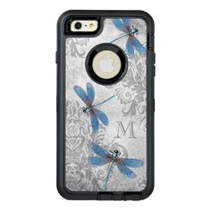 Vintage Dragonflies with Custom Monogram OtterBox Defender iPhone Case #vintage #dragonflies #monogram #damask #pattern #OtterBoxDefenderiPhoneCase. International shipping. #phonecases #iphonecases Custom Cell Phone Case, Girl Phone Cases, Iphone Cases, Latest Iphone, Apple Iphone 6, 6s Plus, Protective Cases, Dragonflies, Monogram
