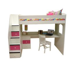 Utica Full Dorm Loft Bed with Stairs and Desk Station | Wayfair