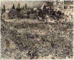 Vincent van Gogh Drawing, pen and ink Arles: July, 1888 Oskar Reinhart Collection 'Am Römerholz' Winterthur, Switzerland, Europe F: JH: 1512 Image Only - Van Gogh: Garden with Flowers Artist Van Gogh, Van Gogh Art, Winterthur, Pierre Auguste Renoir, Edouard Manet, Vincent Van Gogh, Charles Gleyre, Van Gogh Drawings, Statues