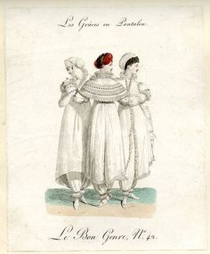1812, British museum. The new and far from universal pantaloons.  Few women wore this short lived fad, but under drawers had come in and would gain popularity over the next 40 years.