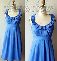 Cornflower-blue bridesmaid dress - http://themerrybride.org/2015/03/19/rustic-wedding-ideas/