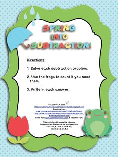 "FREE MATH LESSON - ""FREE Spring into Subtraction! for Kindergarten, First, and Second"" - Go to The Best of Teacher Entrepreneurs for this and hundreds of free lessons.   Pre-Kindergarten - 2nd Grade   #FreeLesson  http://www.thebestofteacherentrepreneurs.net/2014/03/free-math-lesson-free-spring-into.html"