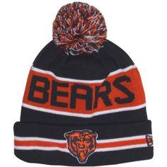 0aa5a1d84fc New Era Chicago Bears The Coach Cuffed Knit Beanie with Pom - Navy  Blue Orange