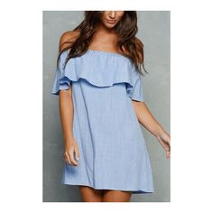 Yoins Off The Shoulder Mini Dress with Flouncy Details ($17) ❤ liked on Polyvore featuring dresses, off shoulder ruffle dress, ruffled dresses, blue dress, short dresses and short blue dresses