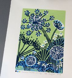 Pastinak Blumen no3 Linolschnitt drucken