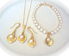 Gold calla lily set  Necklace Earrings and by QueenMeJewelryLLC