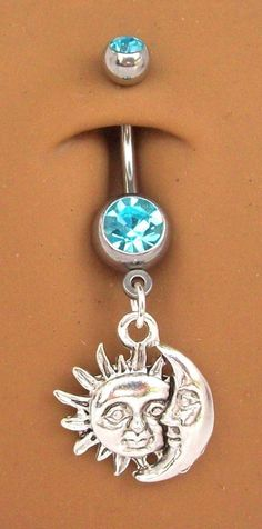 MOON & SUN AQUA BLUE DOUBLE GEM DANGLE BELLY NAVEL RING #416 NEW