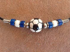 Black Leather Necklace with a Ceramic Soccer by buffalorunjewelry, $9.95