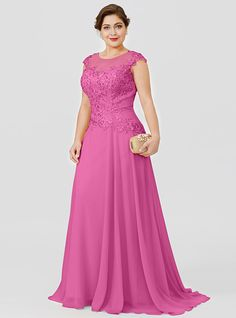 Plus Size Princess Illusion Neckline Floor Length Sweep / Brush Train Chiffon Beaded Lace Mother of the Bride Dress with Beading by LAN TING… Mother Of The Bride Gown, Mother Of Groom Dresses, Mothers Dresses, Mom Dress, Lace Dress, Chiffon Dress Long, Beaded Chiffon, Beaded Lace, Evening Dresses Plus Size