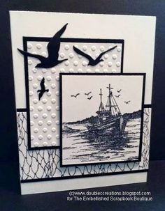 Double C Creations: ODBD Fishing Ship.this would be nice with any ship stamp I've got. I may have some Cricut birds. Masculine Birthday Cards, Birthday Cards For Men, Masculine Cards, Men Birthday, Nautical Cards, Beach Cards, Boy Cards, Men's Cards, Stamping Up Cards