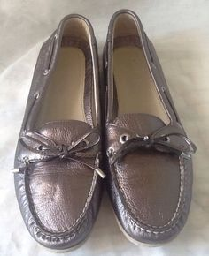 Sperry Topsider Ladies Boat Mocc Shoes in Dark Metallic Silver Leather 8.5M VGC! in Clothing, Shoes & Accessories, Women's Shoes, Flats & Oxfords | eBay