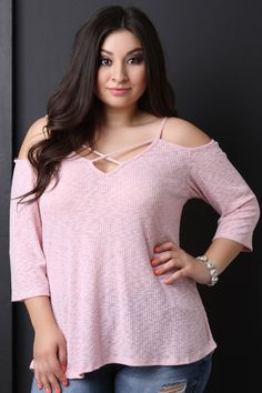 df6bdf09f08213 Ribbed Knit Caged Cold Shoulder Top Blusas