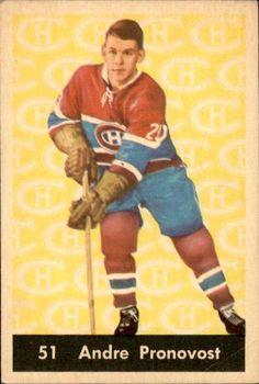 Andre Pronovost - Montreal Canadiens. 1961-62 Parkhurst hockey card.