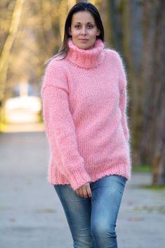❤ EXTRAVAGANTZA ❤ Hand Knitted Turtleneck Mohair Sweater Light Pink Pullover  #EXTRAVAGANTZA #TurtleneckMock