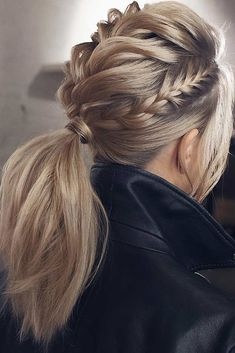 Braided Updo Hairstyles ❤️ Hair updos are really po… Updo braided hairstyles ❤️ Hair hair are very popular now and it's no wonder why. It does not matter if you are a student or a politician – there is always something for you! Valentine's Day Hairstyles, Braided Hairstyles Updo, Hairstyle Ideas, Braided Updo, Trendy Hairstyles, Twisted Ponytail, Ponytail With Braid, Mohawk Braid, Cool Ponytails