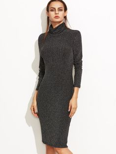 Black Marled Knit Cowl Neck Ribbed Pencil Dress -SheIn(Sheinside) Mobile Site