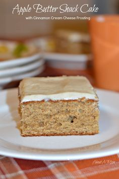 Love baking a cake on a cold day! This Apple Butter Cake with Cinnamon Cream Cheese Frosting is comfort food at it's best.