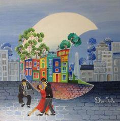 Arte naif  PILAR SALA  Bailamos tango Tango Art, Building Painting, Illustration Story, Happy Paintings, Naive Art, Art Tutorials, Painting Inspiration, Photo Art, Folk Art