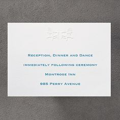 Show and Tell - Reception Card weddingneeds.carlsoncraft.com