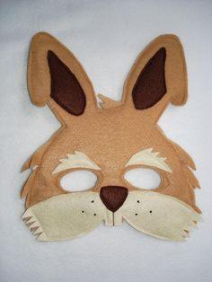 Children's Brown RABBIT Felt Mask by magicalattic on Etsy, $12.50