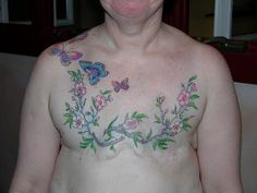 Affirming Life After Breast Cancer Tattoo by Chris Dingwell over Double Mastectomy. This woman is beyond brave.