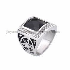 anillo de piedra negra brillo en acero plateado inoxidable -SSRGG371850