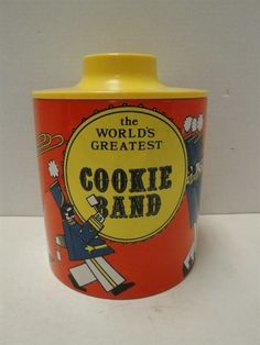 Ransburg Cookie Tin Band on Orange Antique Cookie Jars, Cookie Tin, Vintage Cookies, Light Painting, Stoneware, Pottery, Hand Painted, Band, Orange