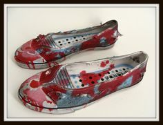 Custom Made Women's Bloody Zombie Shoes Flats Slip Ons Halloween Costume 8 by wardrobetheglobe on etsy, $40.00