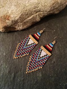 Native American Beaded Minimalist Earrings Valentine Gift For Her Capri Blue Orange Red White Gold Black Glass Seed Bead Huichol Everyday Beaded Earrings Native, Seed Bead Earrings, Fringe Earrings, Diy Earrings, Seed Beads, Jewelry Showcases, Capri Blue, Valentines Gifts For Her, Native American Beading